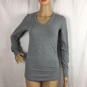 Athleta organic cotton gray long sleeve shirt